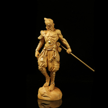 24K Gold Monkey King Inlaid Gold Wood People Statue Sun Wukong China Gift Doll Figurine Home Decorations Carved Wall Decors