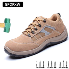 Steel Toe Safety Men Work Shoes 2018 Summer Fashion Breathable Slip On Boots Casual Mens Shoe Puncture Proof Safe Work ce certification rubber men and women safety work shoe covers oil slip resistant specialized works shoes light steel toe shoe