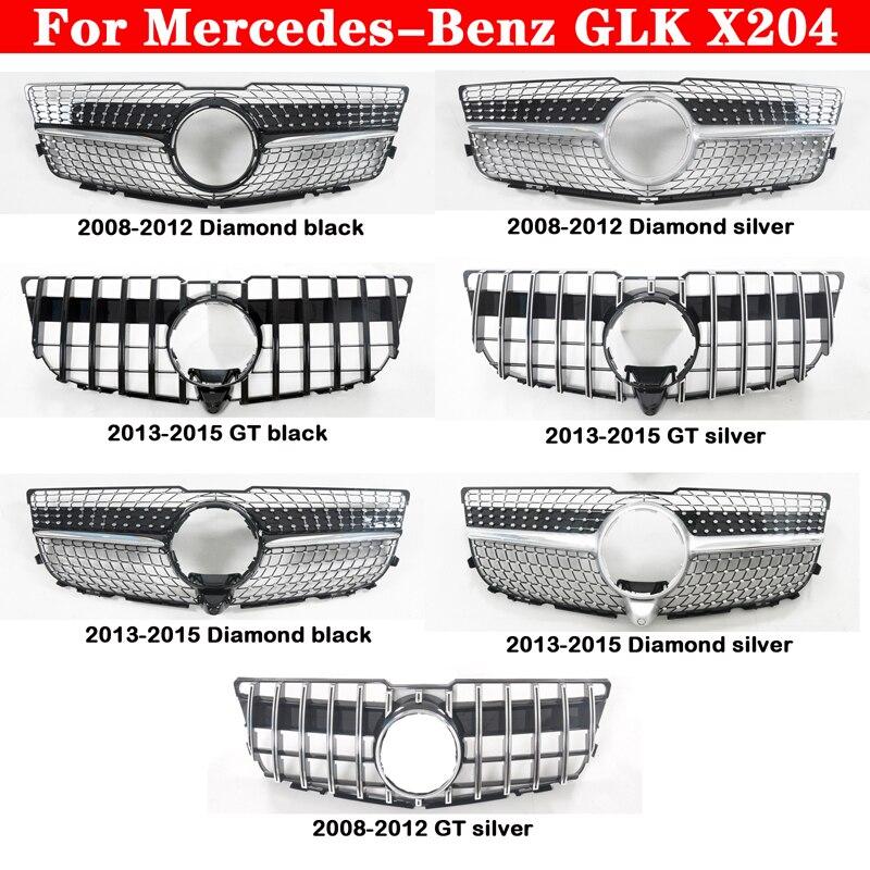 Mercedes-benz GLK X204 2008-2015 araba styling orta ızgara ABS plastik gümüş siyah ön tampon ızgarası otomatik merkezi izgara GT