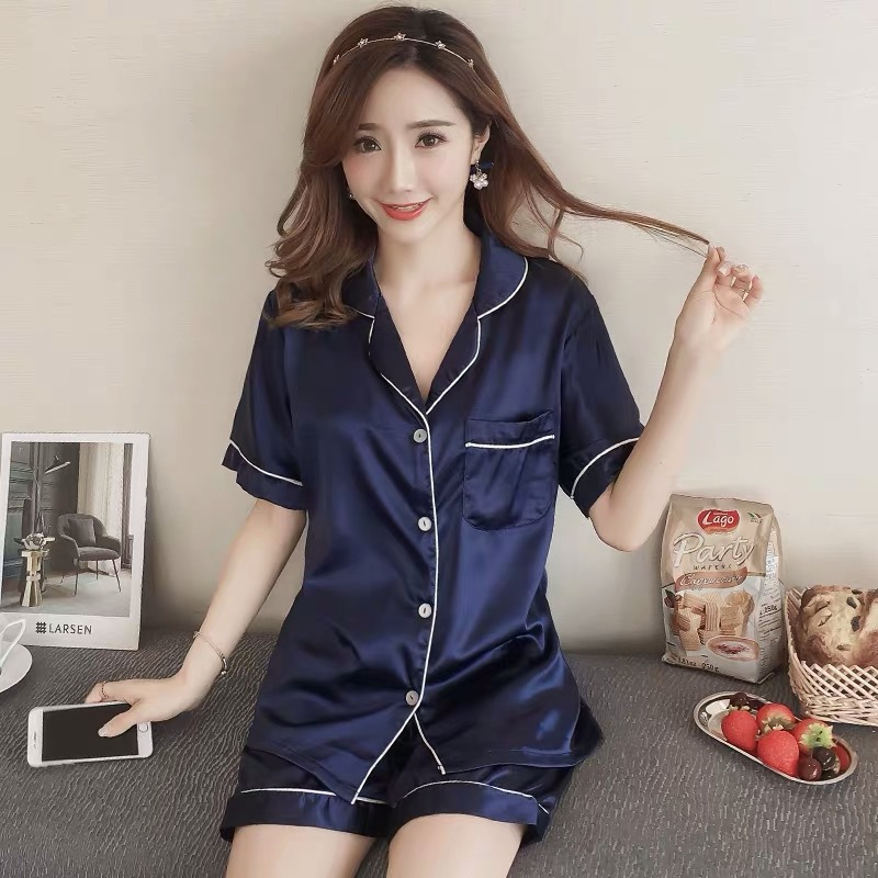 WOMEN'S Pajamas Spring And Autumn Cardigan Short Sleeve Simple Silk Tracksuit Viscose Thin Set Air Conditioning Clothes