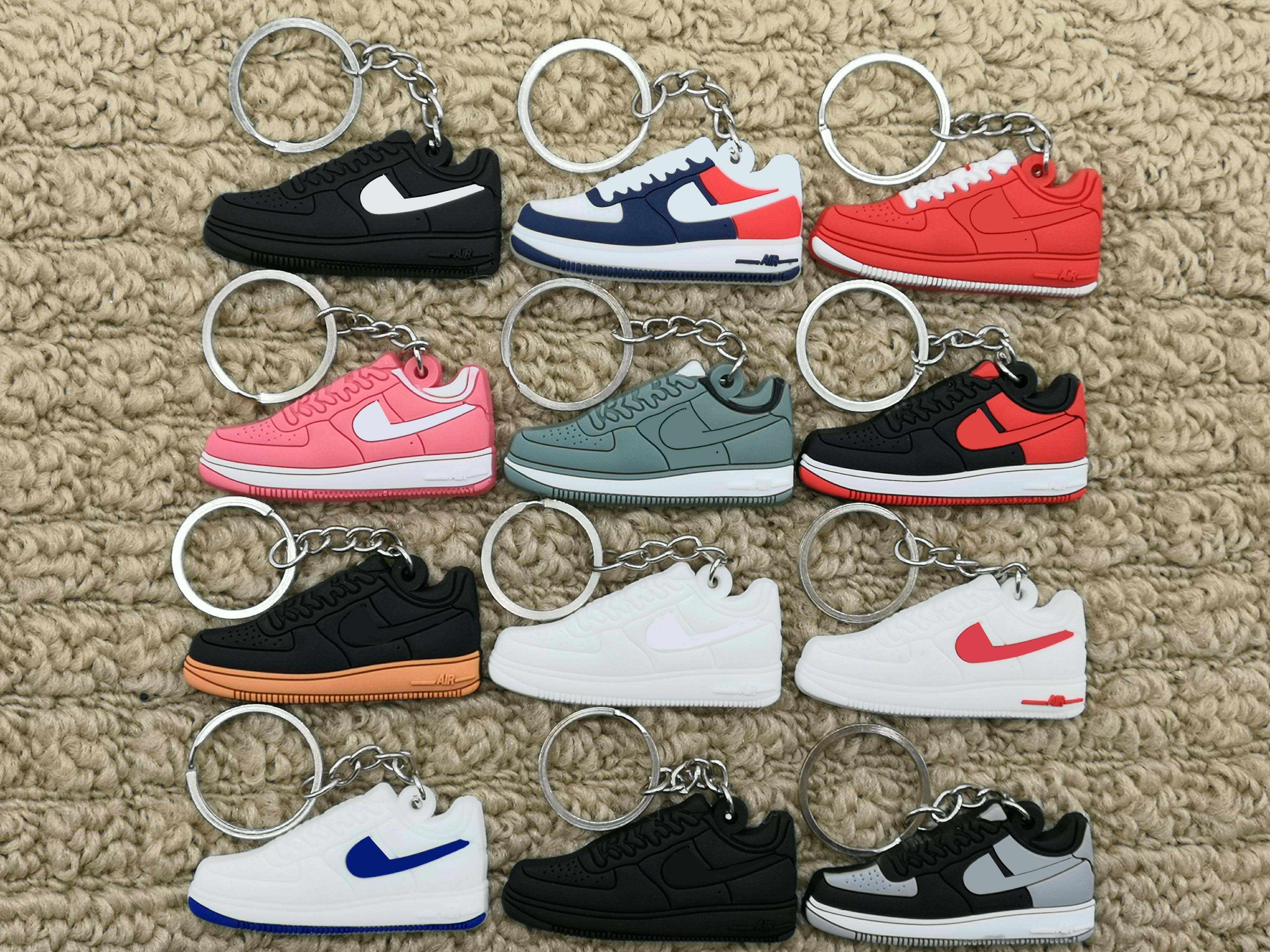 Hot Sale cute mini Silicone Air sneakers keychain basketball shoes backpack pendant keyring creative gift force shoe keychain