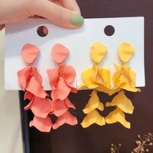 Multi Layers Big Flower Petal Drop Dangle Earrings For Women 2019 New Statement Pendientes Beach Holiday Jewelry