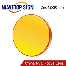 WaveTopSign China Dia.12 18 19 20mm Lente de Foco PVD ZnSe FL38.1 50.8 63.5 76.2 101.6 milímetros Para Co2 Laser gravador