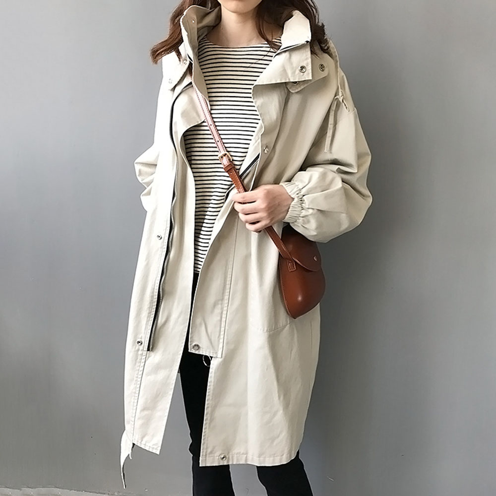 New Pure Black   Trench   Coat Women Oversize Coats Long Korean Chic Minimalist Hooded Zipper Loose Casual Beige Outwear Windbreaker