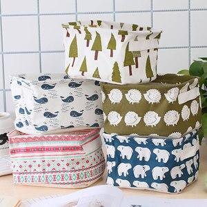 Toiletries Fabric Storage Box Sundries Storage Basket Foldable Cotton Linen Kitchen Dirty Clothes Storage Basket