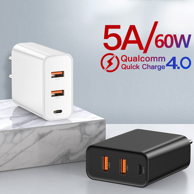 Baseus <font><b>60W</b></font> <font><b>USB</b></font> <font><b>Charger</b></font> Quick Charge 4.0 <font><b>USB</b></font> Type C <font><b>Charger</b></font> for iPhone11X XS 8 PD3.0 5A Fast <font><b>USB</b></font> <font><b>Charger</b></font> for Huawei Samsung S10 image