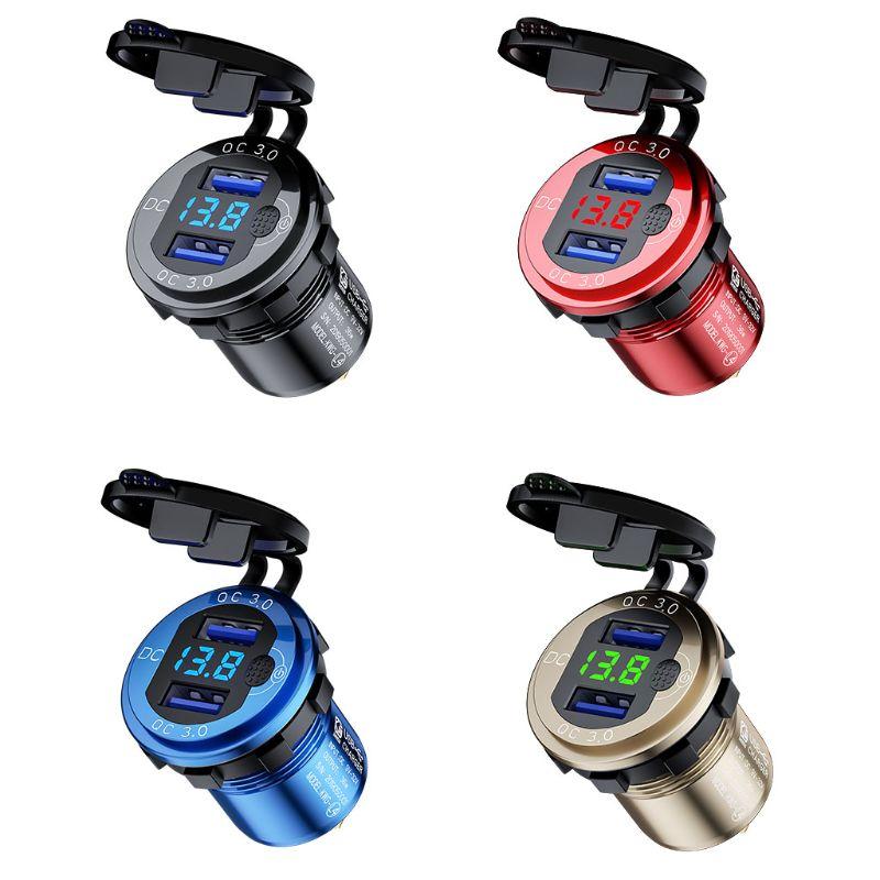 Алюминиевый Водонепроницаемый двойной разъем QC3.0 USB для быстрой зарядки 12 в 24 в 18 Вт, светодиодный выключатель питания с вольтметром для авт...