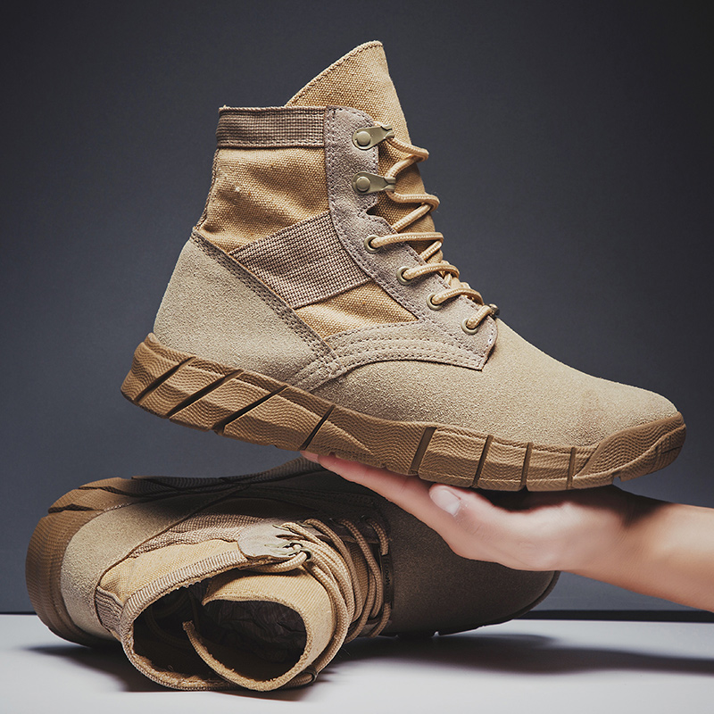VastWave Winter Faux Suede Man's Military Boot Slip Resistant Army Mens Soldier Ankle Boot Male Canvas Webbing Safety Work Shoes
