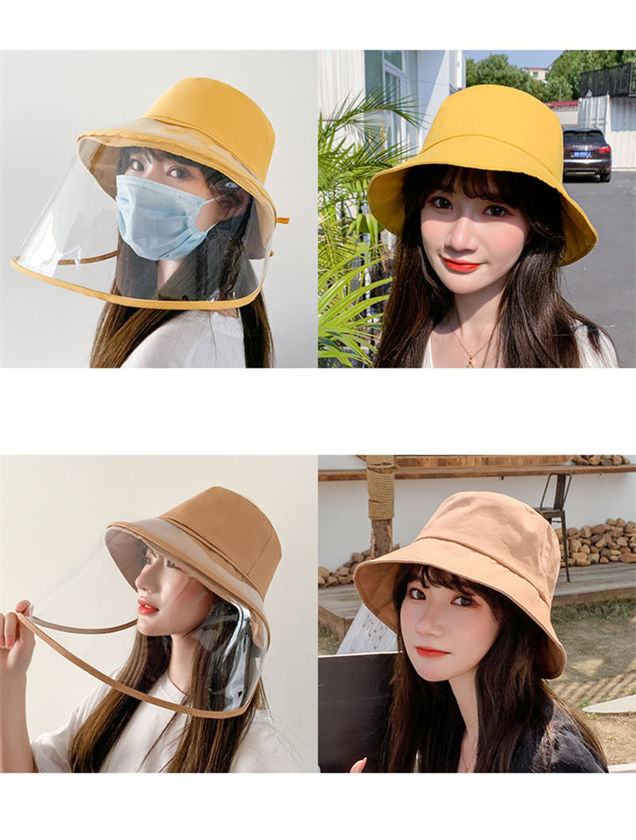 H2dcde646cfc848b59b737b8cc1970218v - Anti-fog Panama Hat Unisex Summer Anti-saliva Bucket Hats Big Brim Transparent TPU protection Removable Fisherman hat Sun Cap