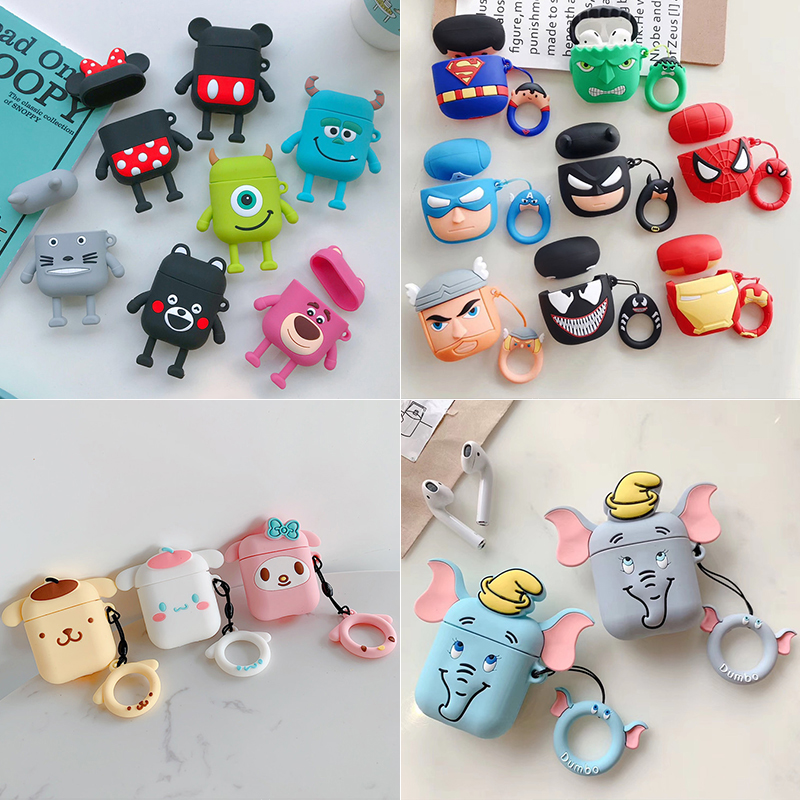 Cartoon Wireless Bluetooth Earphone Case For Apple Airpods Silicone Soft Leather Headset Box For Airpods 2 Cute Protective Cover