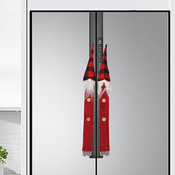 8 sztuk czerwone kuchenki mikrofalowe boże narodzenie Santa zmywarka drzwi festiwal przenośna ściereczka kuchenna łatwe do czyszczenia lodówka osłona klamki tanie i dobre opinie HOUSEEN CN (pochodzenie) Other Nowoczesne