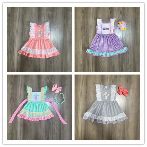 Baby Girls Easter Dress Girls Spring Sleeveless Dress With Cross Print Girls Lace Dress Girls Truck Dress With Bow