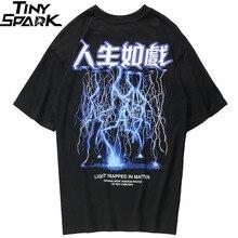 2020 גברים היפ הופ T חולצה ברקים הדפסת חולצה Streetwear סיני מכתב Tshirt Harajuku הגדול קיץ חולצות Tees כותנה חדש