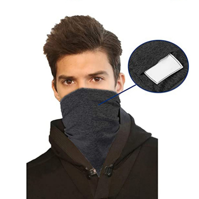 X Multi-purpose Bandanas Neck Gaiter With Safety PM 2.5 Filters Pads, Unisex Anti-Dust Washable Ring Bib, For Outdoors/Sports