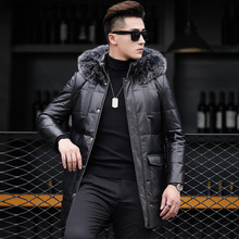 Leather Coat Male Sheep Leather White Duck Down Down Jacket Medium Length Money Fox Mao Collar Lian Cap Coat Men Genuine Leather cheap Loose Black Casual zipper Full Zippers STANDARD 100 Lace Wool NONE 100g Letter Long Medium and long (65cm length ≤80 cm)