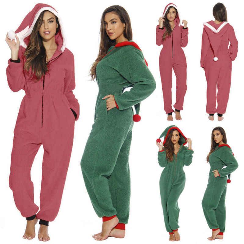 Hirigin נשים תחתוני חג המולד פיג 'מה סלעית החורף חם Loungewear סנטה הלבשת Nightwear סרבל פיג