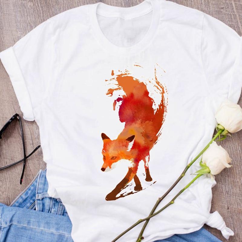 Women Graphic Fox Animal Cartoon Printing 90s Cute Short Sleeve 90s Print Clothes Lady Tees Tops Female T Shirt  Womens T-Shirt 16