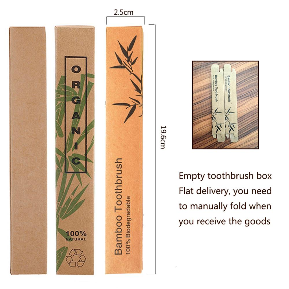 5pcs Empty Natural Bamboo Toothbrush Kraft Paper Box Wood Toothbrushes Case Eco-Friendly Products Wholesale
