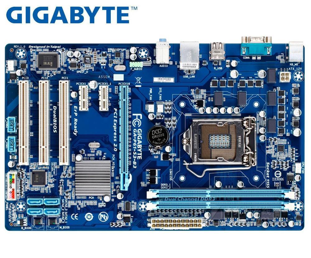 Original Motherboard For Gigabyte GA-P61-S3-B3  GA-P61-S3 DDR3 LGA 1155 P61-S3 P61-S3-B3 16G Usb2.0 H61 Used Desktop Motherboard