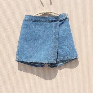 Image 4 - Kız yaz şort 2020 çocuk elastik bel kot pantolon bebek kız genç pamuk gevşek mavi kot şort kız giyim