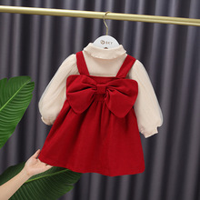 Winter Baby girl cute puff sleeve Shirt + big bow strap corduroy Dress princess dress 2pcs suit Kids