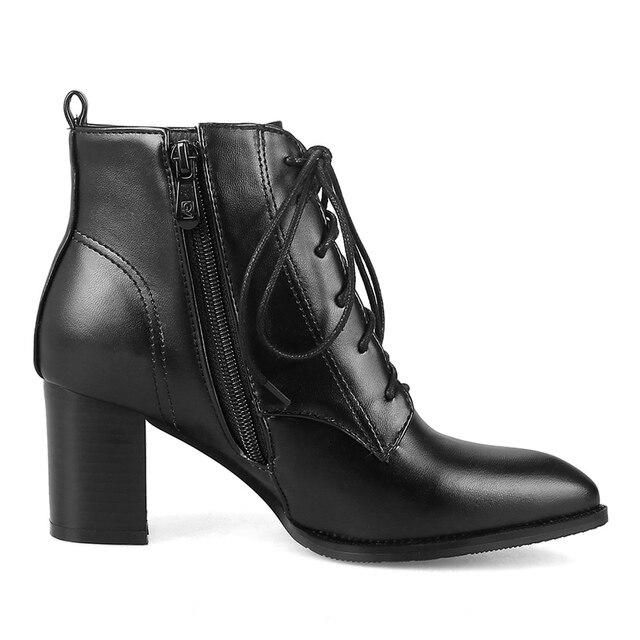 Mode bottines pour femmes bout pointu à lacets automne bottes courtes femme épais Med talon décontracté classique noir rouge chaussures dame