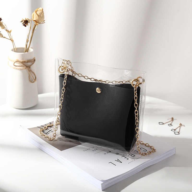 Mulher transparente balde saco claro pvc geléia pequena bolsa de ombro feminino corrente crossbody messenger bags 2019 design bolsa de luxo