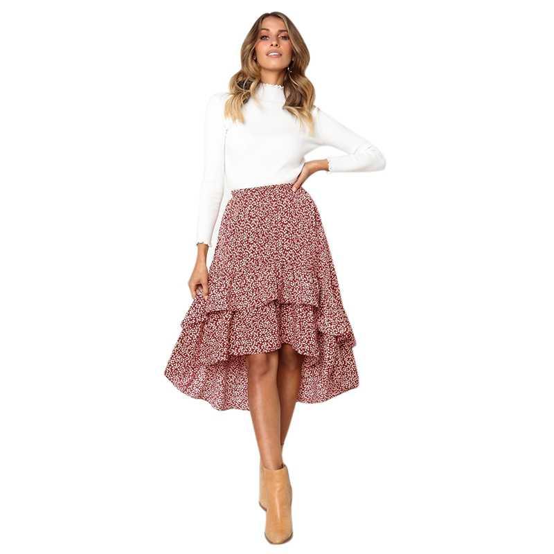 Moda damska Polka Dot Midi Casual wysoka talia asymetryczne falbany warstwy długie czeski Party kobieta czerwony