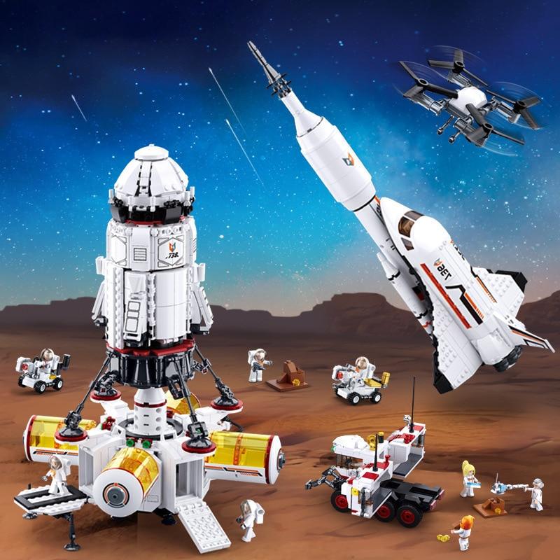 La Station spatiale internationale bloque la navette Satellite fusée astronaute figurine briques de construction espace centre de lancement enfants jouets cadeaux