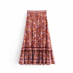 Image 3 - Vintage chique moda feminina hippie praia boêmio floral impressão single breasted saia de cintura alta midi a linha boho saia femme