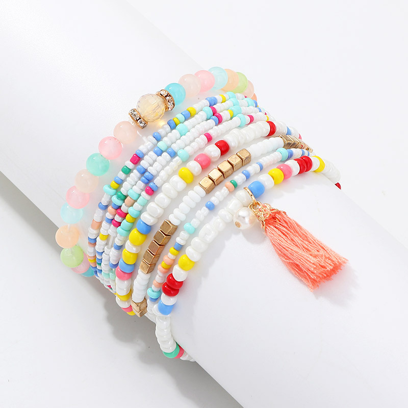 Fashion Bohemian Lady Exquisite Bracelet Exquisite Colorful Beaded Rope Chain Bracelet Tassel Beach Hot Sale Natural Handmade in Charm Bracelets from Jewelry Accessories