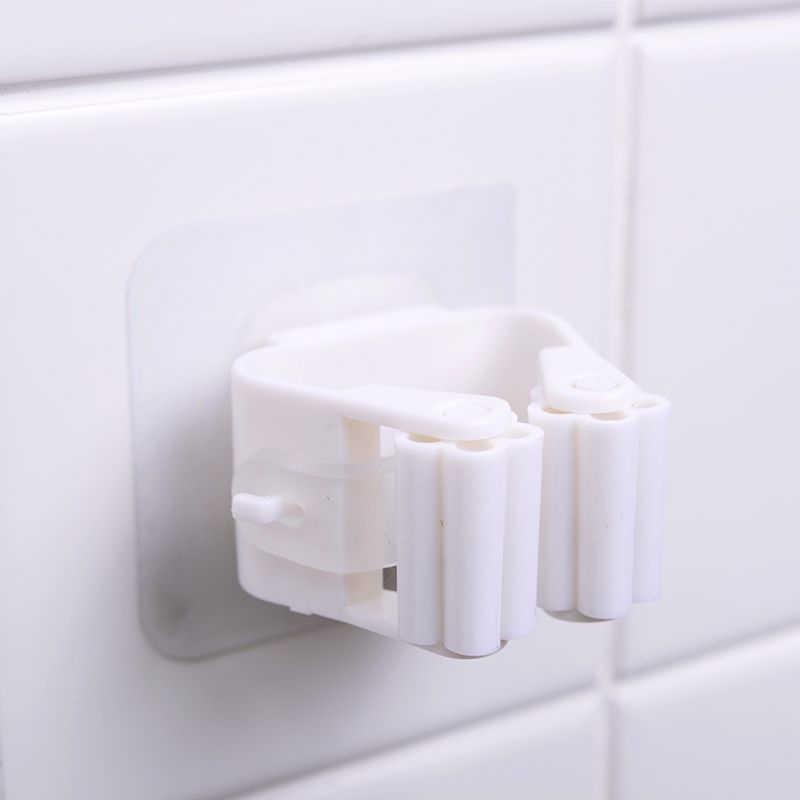 1Pc łazienka kuchnia miotła Mop wieszak przechowywania organizator stojaków zaczep klipsów klej uchwyt na miotłę wieszak łazienka akcesoria