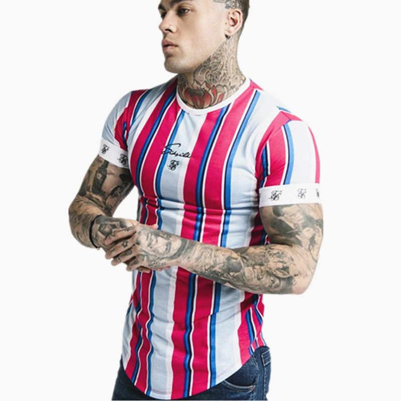 2019 novo hip hop apertado halterofilismo t camisa dos homens de manga curta jogger aptidão listra poliéster camisetas topos verão casual streetwear