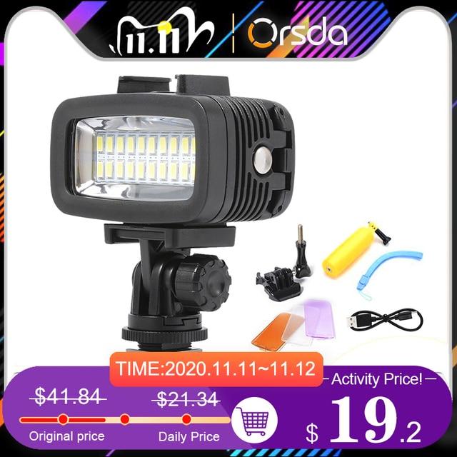 Orsda Gopro Accessories LED 40m Underwater Waterproof Lamp Gopro Light Led Video Flash Fill Light for SJCAM Xiaomi 700LM SL 100