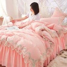 Princesa estilo borda do laço casa conjunto de cama quatro peças folha fronha capa edredão cama dupla b123