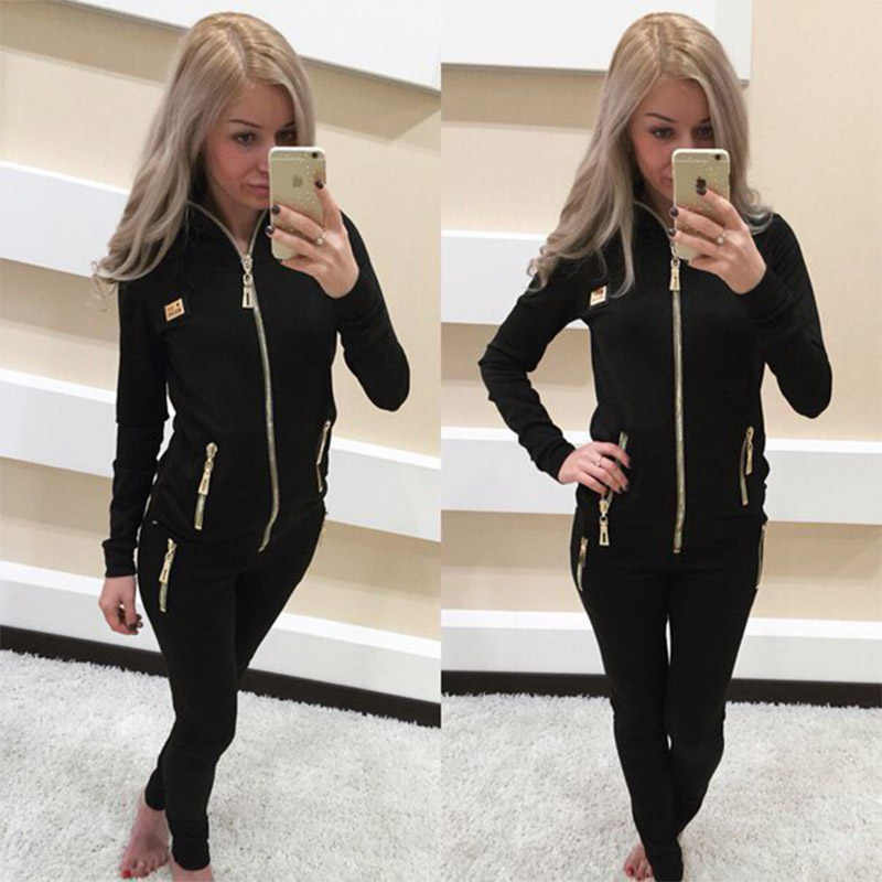2019 New European and American Women  Sports Leisure Suit Running Sports Two-piece Fashion Comfortable Breathable Sportswear