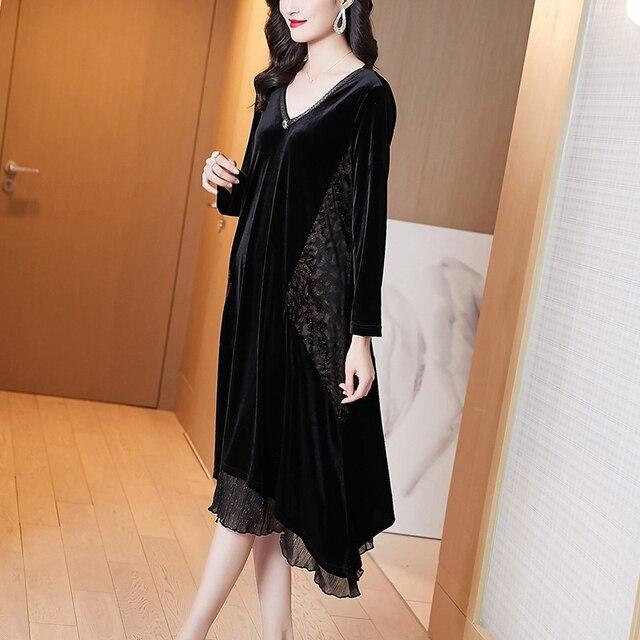 Elegant Women Vintage Casual Black Maxi Dresses 2021 Autumn Winter 5XL Plus Size Long Sleeve Midi Dress Bodycon Party Vestidos 4