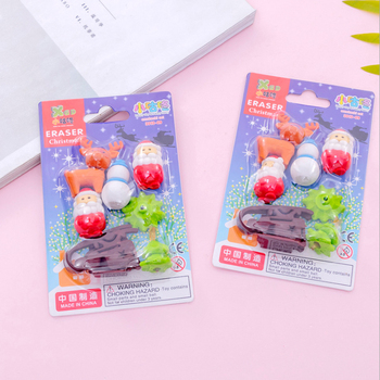 8set/lot Card Pack Eraser Reindeer For Merry Christmas Students Cute Stationery Creative Stationery School Office Supplies merry christmas reindeer olive branch print round beach throw