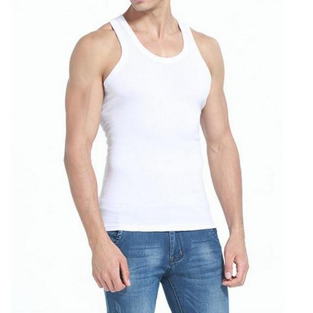 DIHOPE Men Slim Solid Sleeveless Undershirt Boy Summer Cotton Fitness Mulitcolor Vest Thermal Tights High Flexibility Tank Tops 2
