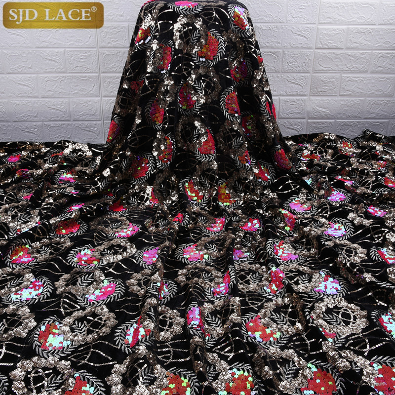 Image 3 - African Velvet Lace Fabric With Sequins Nigerian French Velvet  Lace Fabric High Quality Sequined Velvet For Wedding Dress A1753Lace