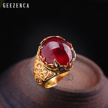 925 Sterling Silver Gold Plated Handmade Craft Ruby Ring Luxury Trendy Vintage Colored Enamel Gemstone Rings Fine Jewelry Women