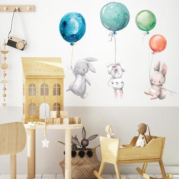 Kreskówka króliczek ściana z balonami naklejka dekoracja ścienna do domu pokoje dla dzieci dekoracja sypialni śliczna tapeta z motywem zwierzęcym samoprzylepne naklejki samoprzylepne tanie i dobre opinie HonC CN (pochodzenie) Płaska naklejka ścienna cartoon Na ścianę Naklejki na meble Jednoczęściowy pakiet WALL W000