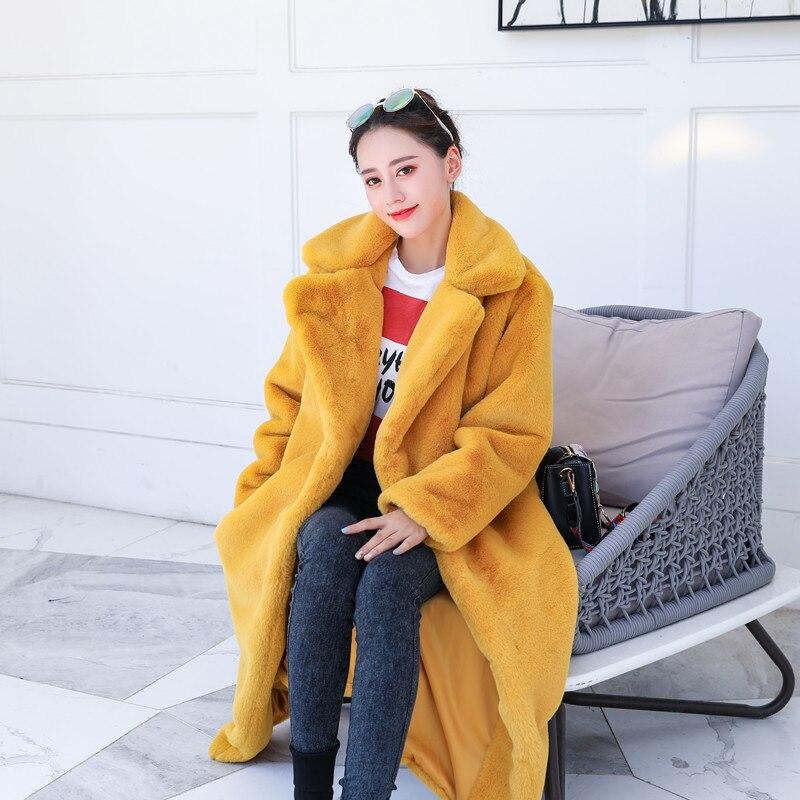 Зимняя новинка Женская мода Стиль чистый цвет теплый толстый искусственный мех кролика пальто XHSD-426 - Цвет: Yellow
