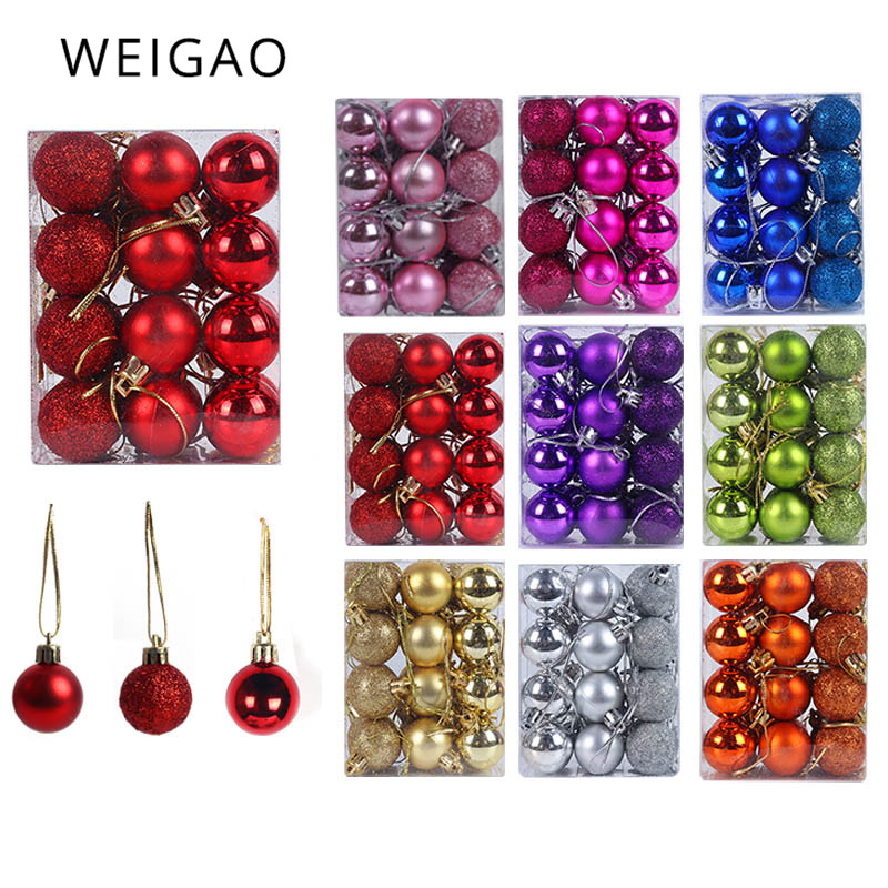 WEIGAO 24pcs Christmas Tree Toys Decorations Ball Bauble Xmas Party Hanging Ball Ornaments Decorations For Home New Year Navidad