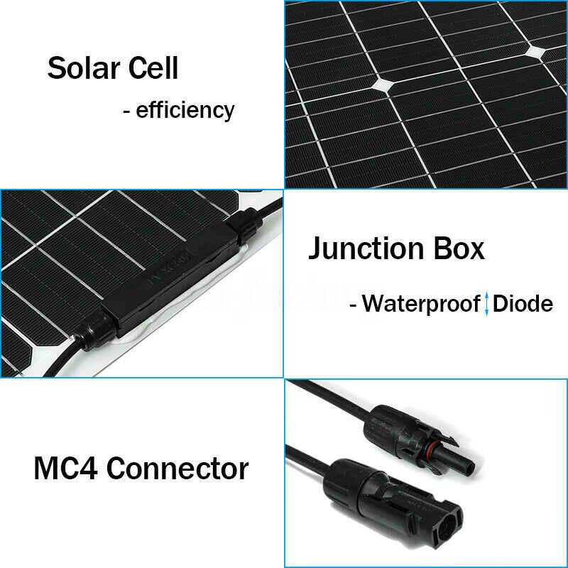 18 فولت لوحة طاقة شمسية 300 واط شبه مرنة خلية شمسية أحادية البلورية لتقوم بها بنفسك وحدة كابل في الهواء الطلق موصل شاحن بطارية مقاوم للماء