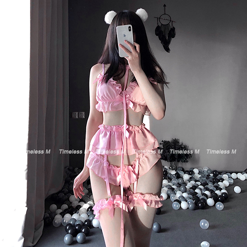Sexy Lingerie Cute White Ruffles Lace Ladies Kawaii Babydoll Lolita Women Set Soft Girl Black Pajamas Pink Cosplay Costumes