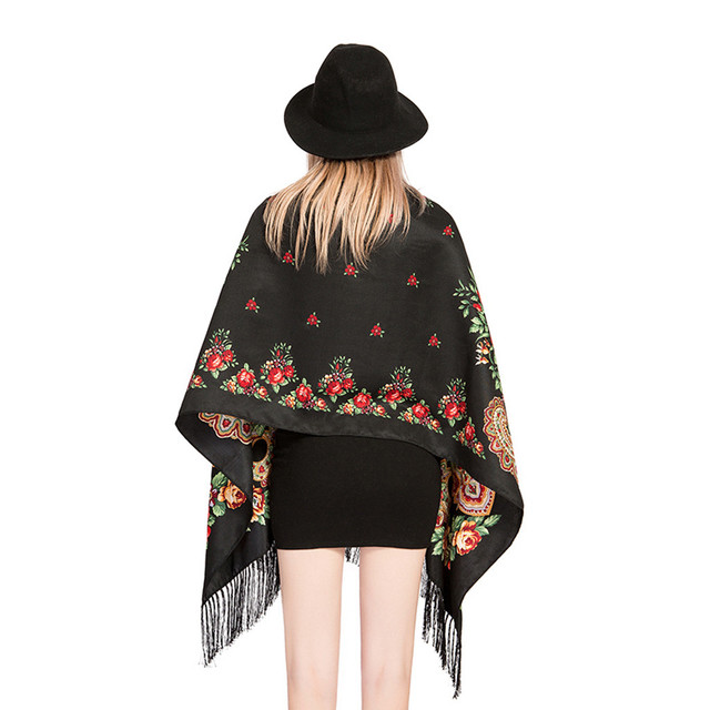 Bufanda Vintage para mujer Otoño Invierno estilo étnico México diseño largo rojo patrón de diseñador bufanda pañuelo para mujer