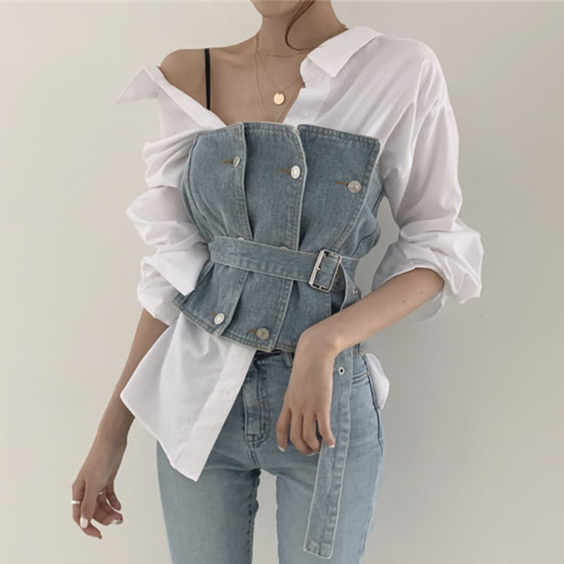 TVVOVVIN 2019 New Autumn Chic Small Sexy Personality Lapel Stripe Shirt Belt Tube Top Cowboy Women Two Piece Outfits B772