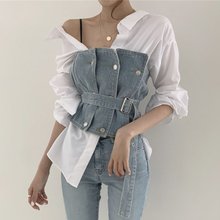 TVVOVVIN  Stripe Shirt Belt Tube Top Cowboy Two Piece Outfit