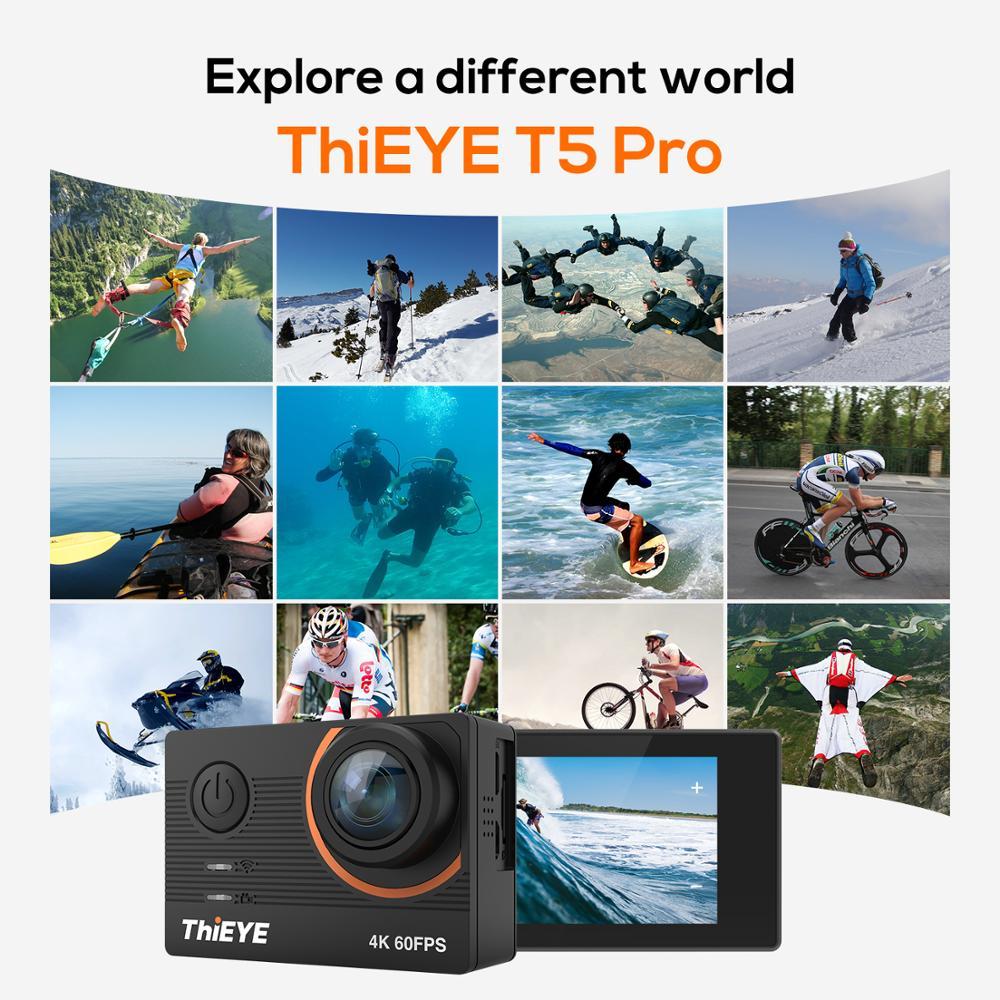 ThiEYE T5 Pro avec caméra d'action WiFi en direct caméra de Sport 4K Ultra HD réelle avec télécommande à distorsion EIS 60M étanche - 5